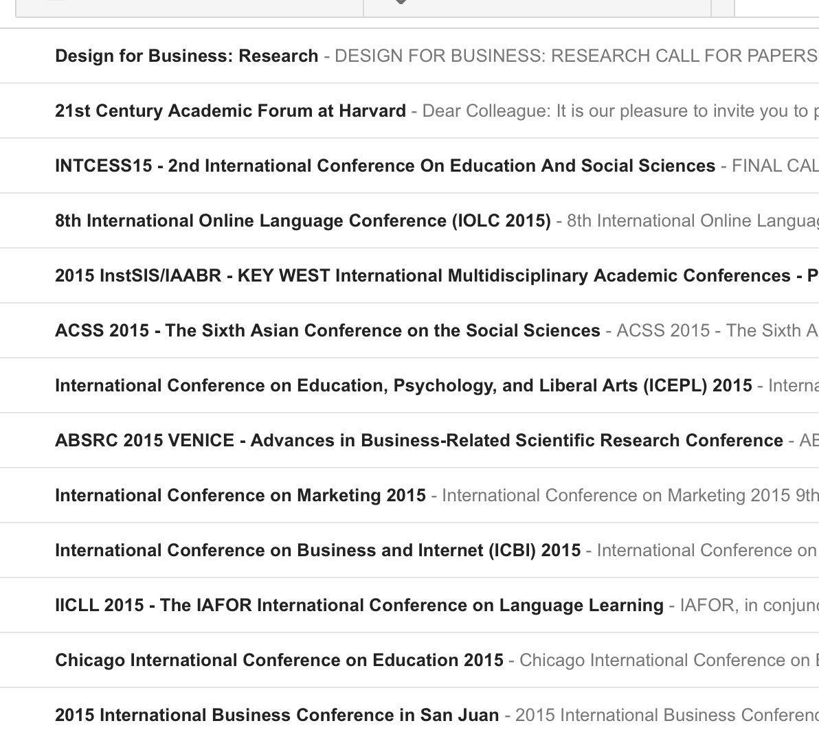 Conferences in email