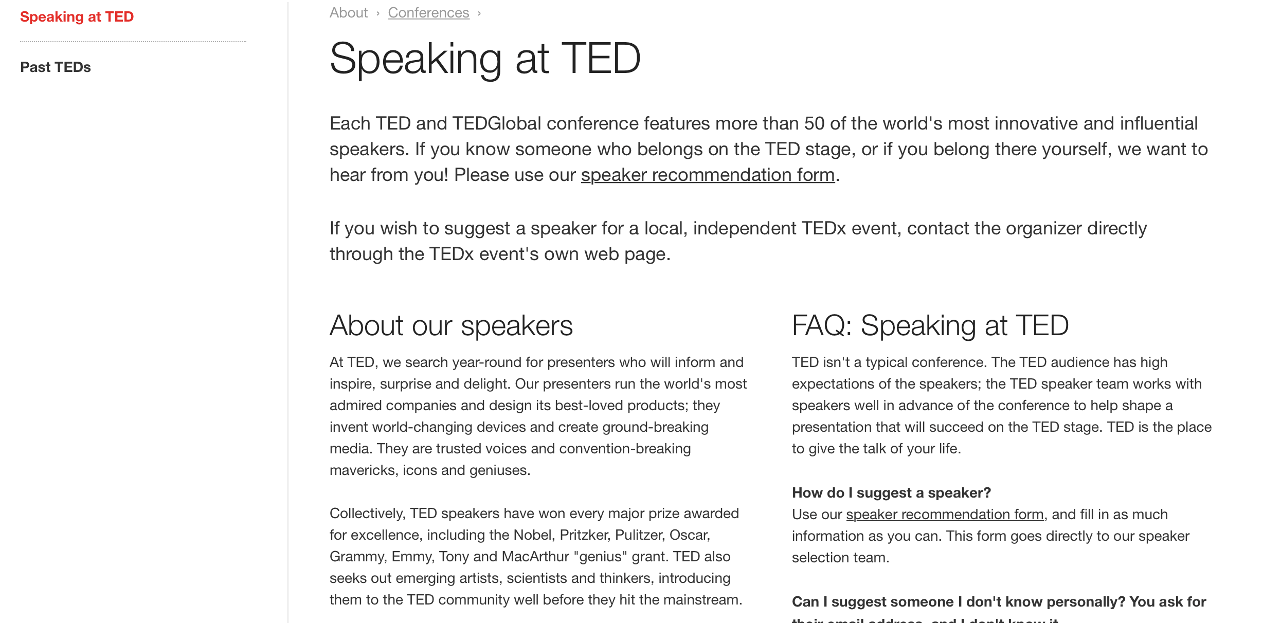 speaking at ted