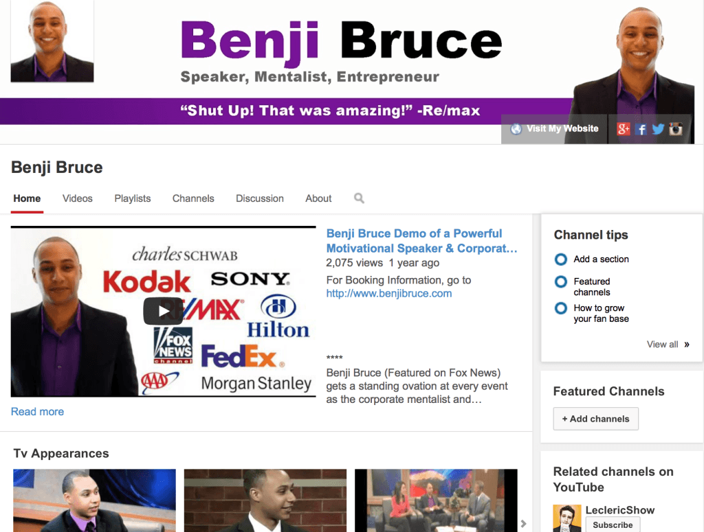 Benji Bruce mentalist youtube