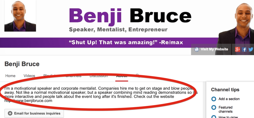 Benji Bruce motivational speaker youtube