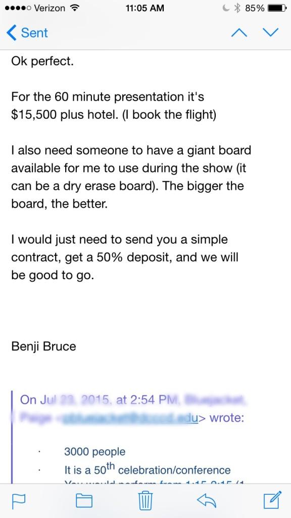 speaker training email mistake