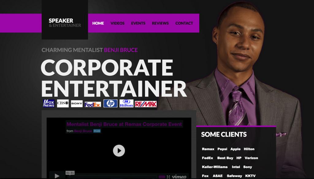Benji Bruce old corporate entertainment website